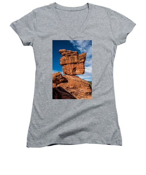 Balanced Rock Garden Of The Gods Women's V-Neck T-Shirt (Junior Cut) by Paul Freidlund