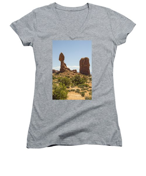 Balancing Rock In Arches Women's V-Neck
