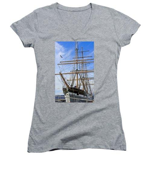 Women's V-Neck T-Shirt (Junior Cut) featuring the photograph Balclutha by Kate Brown