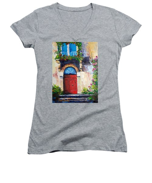 Balcony Women's V-Neck T-Shirt (Junior Cut) by Janet Garcia
