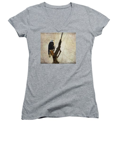 Bald Eagle Keeping Watch In Illinois Women's V-Neck (Athletic Fit)