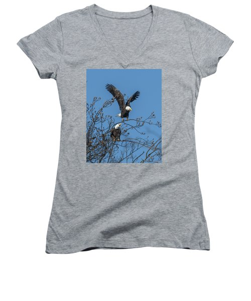 Bald Eagles Screaming Drb169 Women's V-Neck