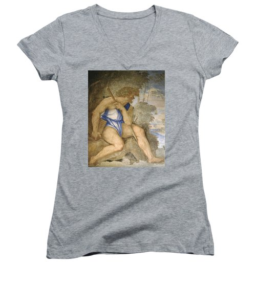 Baldassare Peruzzi 1481-1536. Italian Architect And Painter. Villa Farnesina. Polyphemus. Rome Women's V-Neck T-Shirt (Junior Cut) by Baldassarre Peruzzi