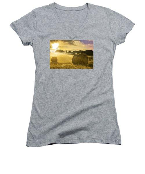 Bales In The Morning Mist Women's V-Neck T-Shirt