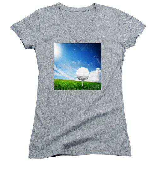 Ball On Tee On Green Golf Field Women's V-Neck T-Shirt