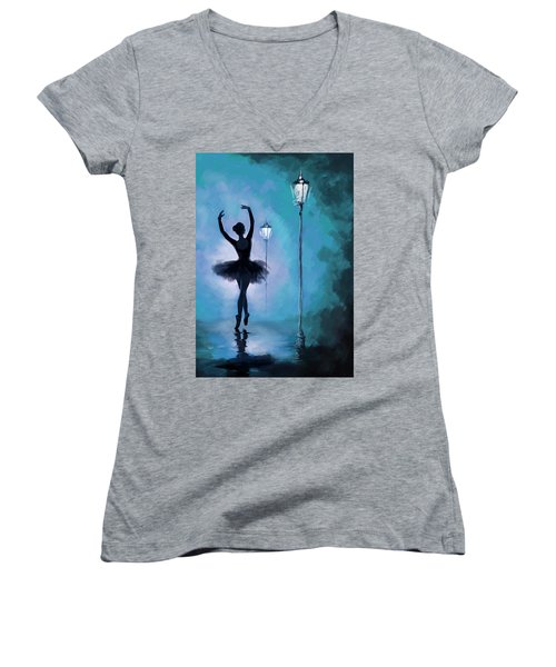 Ballet In The Night  Women's V-Neck T-Shirt (Junior Cut) by Corporate Art Task Force