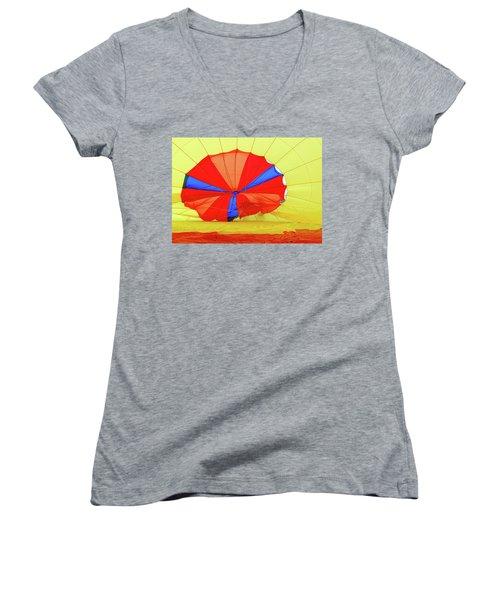 Women's V-Neck T-Shirt (Junior Cut) featuring the photograph Balloon Fantasy   1 by Allen Beatty