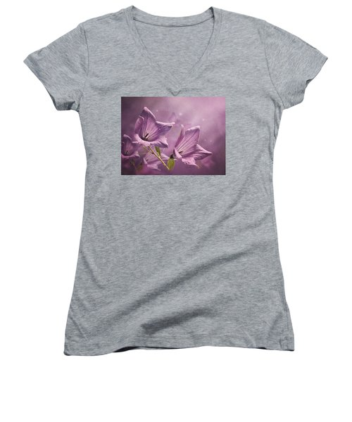 Women's V-Neck T-Shirt (Junior Cut) featuring the photograph Balloon Flowers by Ann Lauwers