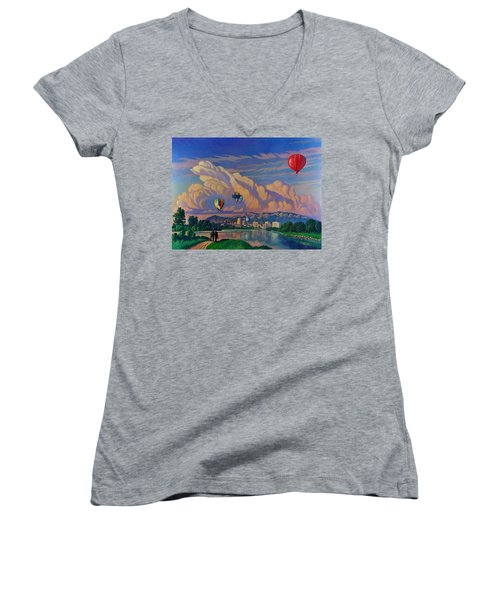 Ballooning On The Rio Grande Women's V-Neck T-Shirt