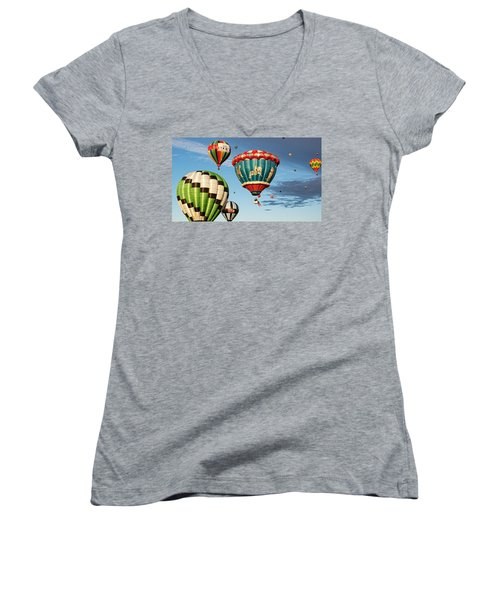 Balloons Away Women's V-Neck T-Shirt (Junior Cut) by Dave Files