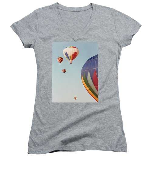 Balloons High In The Sky Women's V-Neck T-Shirt (Junior Cut) by Belinda Lee