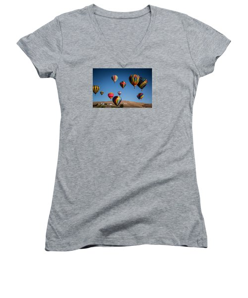Balloons Over Northern Nevada Women's V-Neck T-Shirt (Junior Cut) by Janis Knight