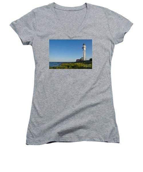 Women's V-Neck T-Shirt (Junior Cut) featuring the photograph Baltic Sea Lighthouse by Kennerth and Birgitta Kullman