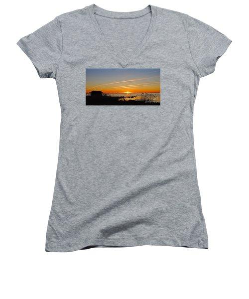 Women's V-Neck T-Shirt (Junior Cut) featuring the photograph Baltic Sea Sunset by Kennerth and Birgitta Kullman