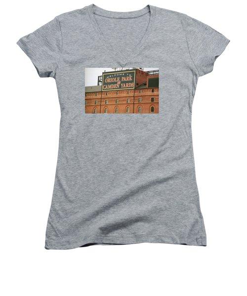 Baltimore Orioles Park At Camden Yards Women's V-Neck T-Shirt (Junior Cut) by Frank Romeo