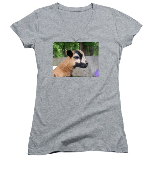 Women's V-Neck T-Shirt (Junior Cut) featuring the photograph Bambi by Belinda Lee