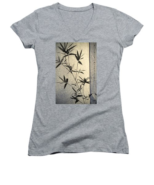 Bamboo Leaves Women's V-Neck (Athletic Fit)