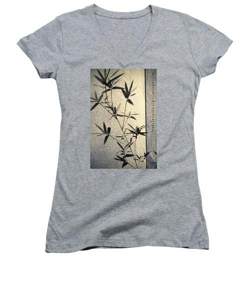 Bamboo Leaves Women's V-Neck T-Shirt
