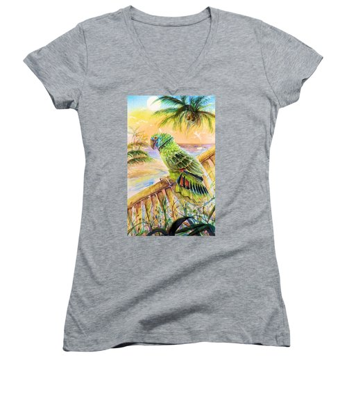 Banana Tree And Tropical Bird Women's V-Neck (Athletic Fit)