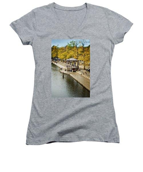 Bandstand In Chester Women's V-Neck T-Shirt (Junior Cut) by Meirion Matthias