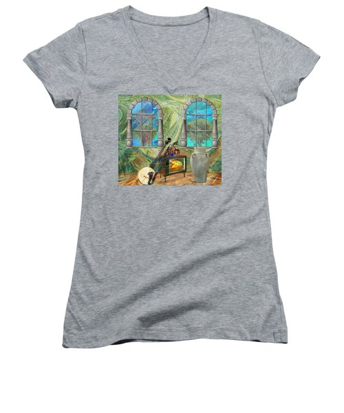 Women's V-Neck T-Shirt (Junior Cut) featuring the mixed media Banjo Room by Ally  White