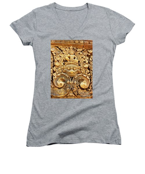 Banteay Srei Carving 01 Women's V-Neck (Athletic Fit)