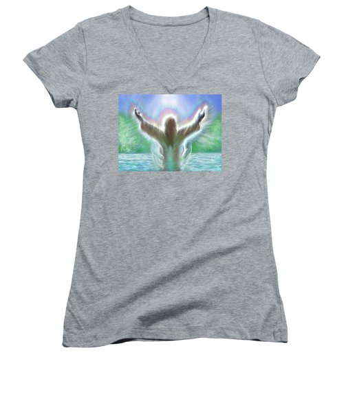 Baptism Of Yshuah Women's V-Neck T-Shirt (Junior Cut) by Hidden  Mountain