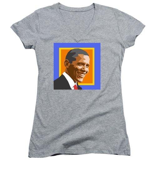 Barack Women's V-Neck T-Shirt (Junior Cut) by Douglas Simonson