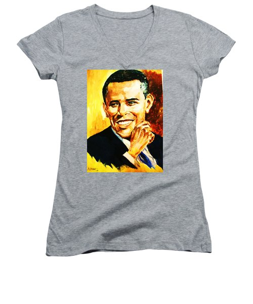 Women's V-Neck T-Shirt (Junior Cut) featuring the painting Barack Obama by Al Brown