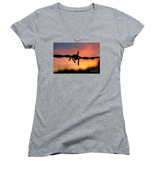 Women's V-Neck T-Shirt (Junior Cut) featuring the photograph Barbed Silhouette by Vicki Spindler
