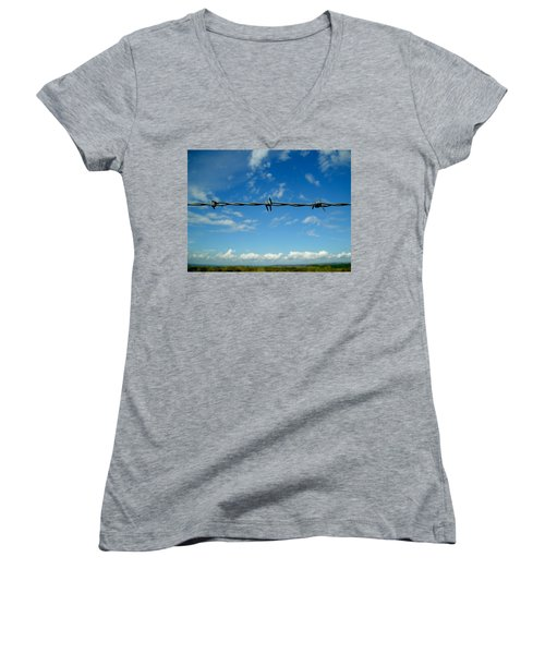 Women's V-Neck T-Shirt (Junior Cut) featuring the photograph Barbed Sky by Nina Ficur Feenan