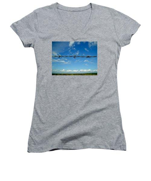 Barbed Sky Women's V-Neck T-Shirt (Junior Cut) by Nina Ficur Feenan