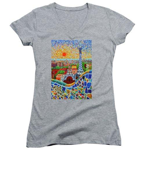 Barcelona Sunrise - Guell Park - Gaudi Tower Women's V-Neck T-Shirt (Junior Cut) by Ana Maria Edulescu
