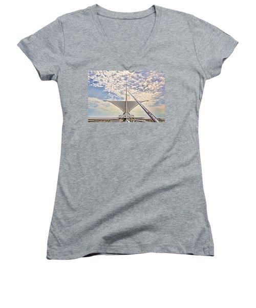 Women's V-Neck T-Shirt (Junior Cut) featuring the photograph Bare Metal Mam by Daniel Sheldon
