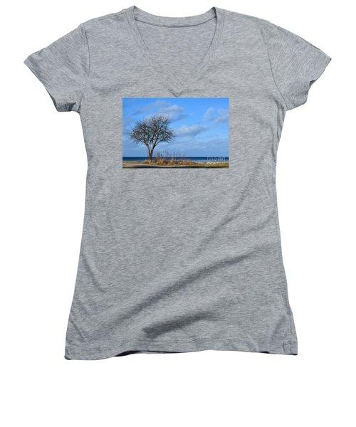 Women's V-Neck T-Shirt (Junior Cut) featuring the photograph Bare Single Tree by Kennerth and Birgitta Kullman