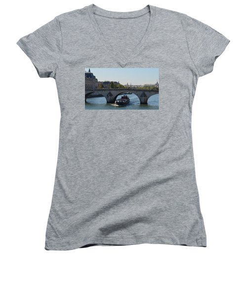 Barge On River Seine Women's V-Neck T-Shirt (Junior Cut) by Cheryl Miller