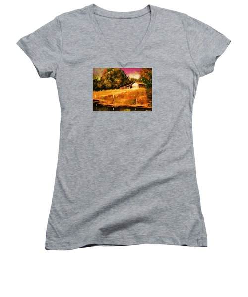 Barn Above The Creekbed Women's V-Neck T-Shirt