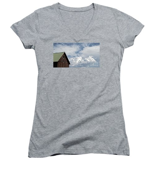 Women's V-Neck T-Shirt (Junior Cut) featuring the photograph Barn And Clouds by Joseph J Stevens