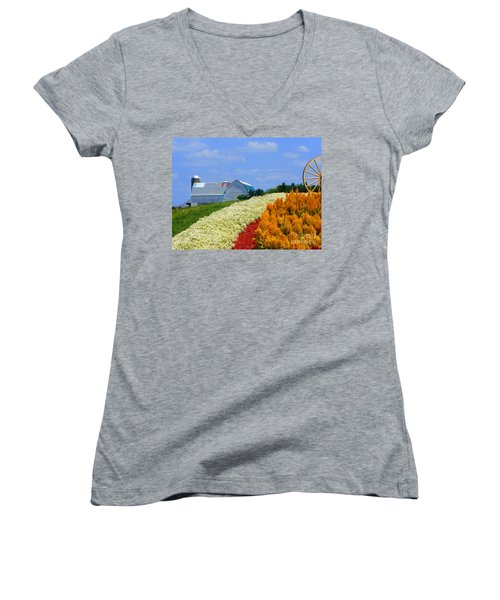 Women's V-Neck T-Shirt (Junior Cut) featuring the photograph Barn And Quilt Garden by Tina M Wenger