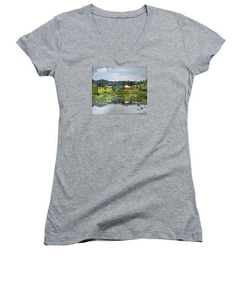 Barn At Little Elk Lake Women's V-Neck T-Shirt