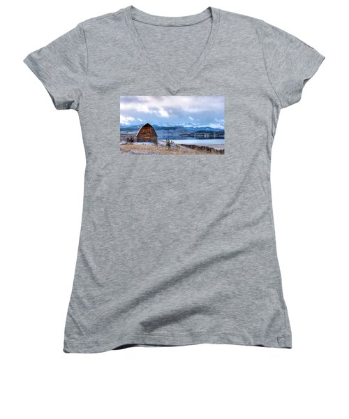 Barn At The Lake Women's V-Neck (Athletic Fit)