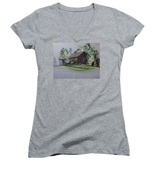 Old Barn At Wason Pond Women's V-Neck T-Shirt (Junior Cut) by Sean Connolly