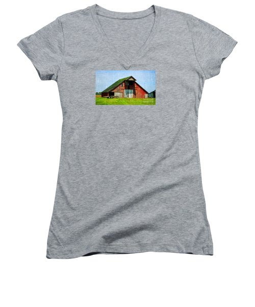 Barn - Central Illinois - Luther Fine Art Women's V-Neck T-Shirt (Junior Cut) by Luther Fine Art