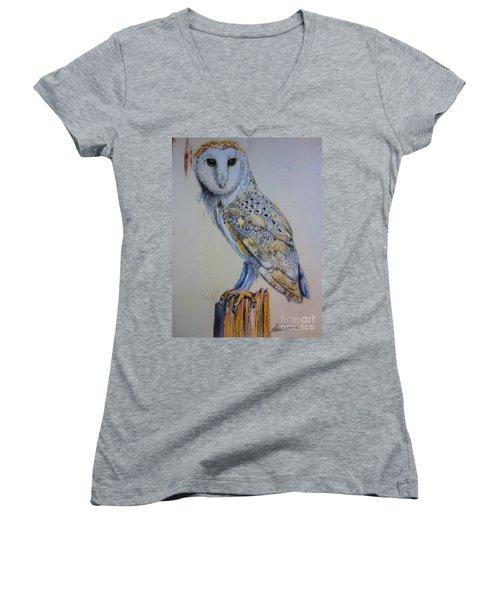 Barn Owl Women's V-Neck T-Shirt (Junior Cut) by Laurianna Taylor