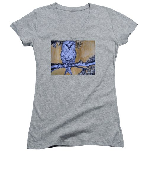 Women's V-Neck T-Shirt (Junior Cut) featuring the painting Barn Owl by Teresa White