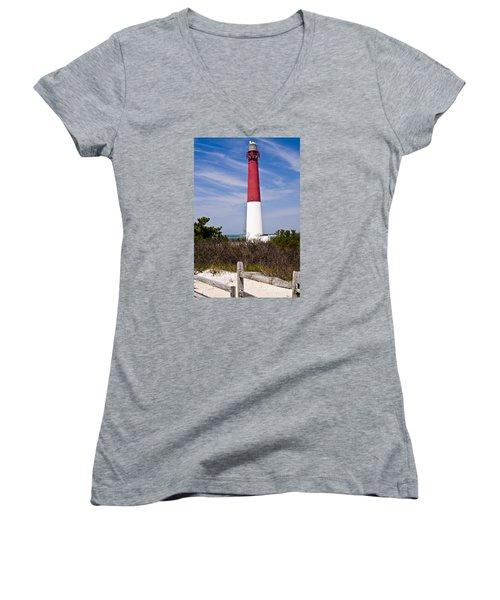 Barnegat Lighthouse Women's V-Neck T-Shirt (Junior Cut) by Anthony Sacco