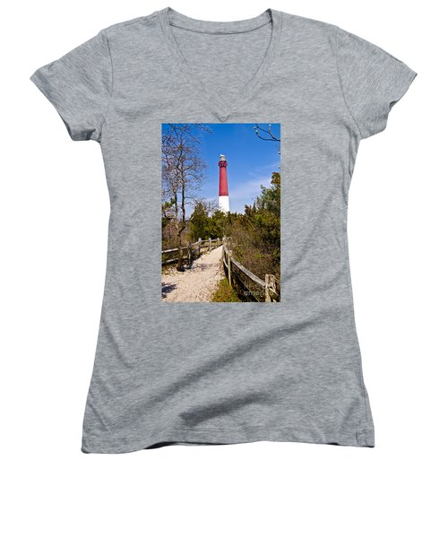 Barnegat Lighthouse II Women's V-Neck T-Shirt (Junior Cut) by Anthony Sacco
