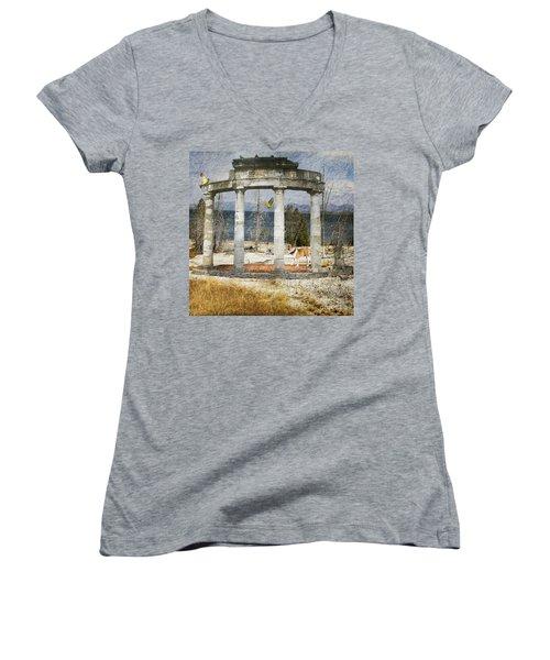 Barren Shoreline Women's V-Neck T-Shirt (Junior Cut) by Liane Wright