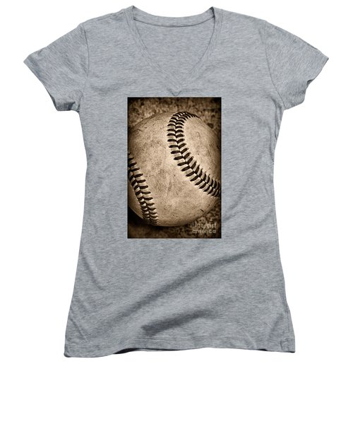 Baseball Old And Worn Women's V-Neck (Athletic Fit)