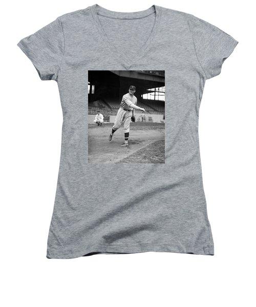 Baseball Star Walter Johnson Women's V-Neck T-Shirt